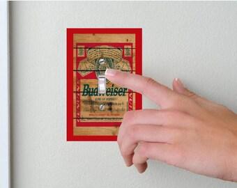 Budweiser- Lightswitch Cover- Budweiser Room Decor- Beer - Man Cave Decor