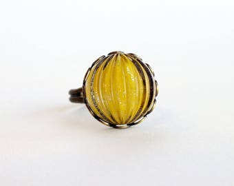Mustard Yellow Ring Vintage Domed Glass Glitter Nail Polish Jewelry Mustard Yellow Adjustable Ring