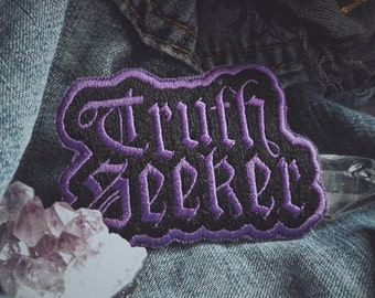 "Truth Seeker Patch - Metaphysical Fashion Accessory - 3"" Iron On Embroidered Patch - Spiritual, Conspiracy, Esoteric - Black & White/Purple"