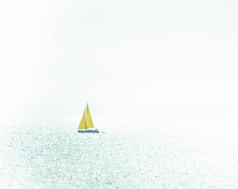 Sailboat with yellow sail, set of 5 mini square cards with envelopes, Greeting Card, Gift Card, Creative Fine Art Photography
