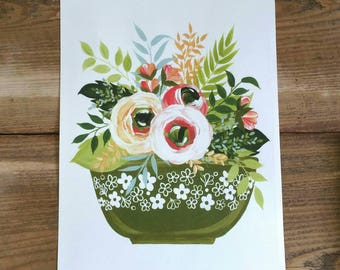 Flowers and Pyrex - PRINT of original art - Spring Blossom print in avocado green - kitchen art - farmhouse decor