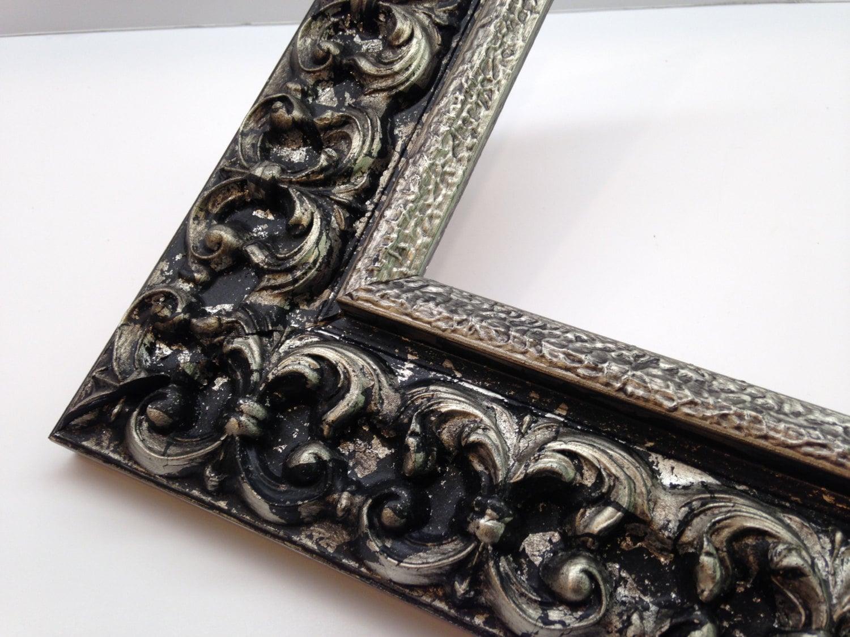 Black & Silver Ornate Picture Frame 3x5, 4x6, 5x7, 8x10, 11x14 ...