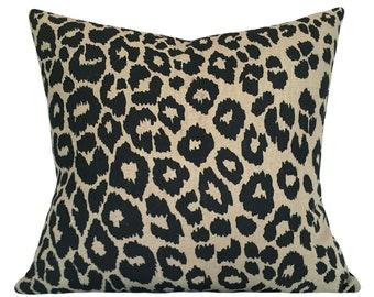 Schumacher Leopard Decorative Pillow Cover - Solid Velvet Back - 10x20, 12x16, 12x20, 14x18, 14x24, 16x16, 18x18, 20x20, 22x22, 24x24, 26x26