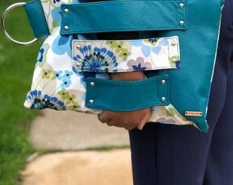 Turquoise triple Strap Hand Clutch