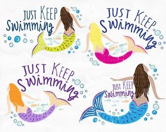 Just Keep Swimming Clip Art, Mermaid ClipArt, Swim Team Motivation, DIY Print your own Temporary Tattoos, Printable Image Transfer