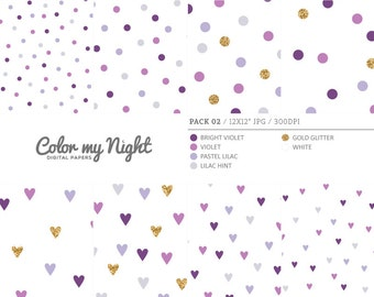 80% OFF SALE Digital Paper Violet 'Pack02' Gold Glitter & Violet Confetti Digital Printable Art for Scrapbook, Party Invitations, Crafts...