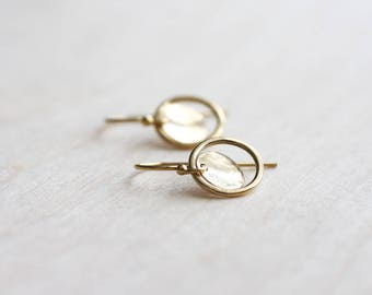 Gold circle earrings - small gold hammered hoops & discs - 14k gold filled - simple, modern, minimal, gift for her - handmade gold jewelry