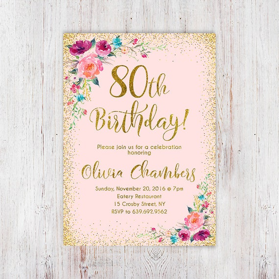 Floral pink and gold women birthday invitation 80th birthday floral pink and gold women birthday invitation 80th birthday invitation any age women birthday invitation boho birthday invite 107 filmwisefo Choice Image