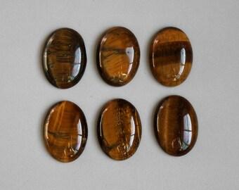 10pcs Tiger Eye Oval Cabochon Stones Flat Back Stones 8mm x 6mm - B78