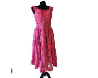 Vintage Pink Lace Dress // 1940's Lace Party Dress Handkerchief Hem //