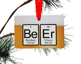 Periodic Table Beer Christmas Ornament