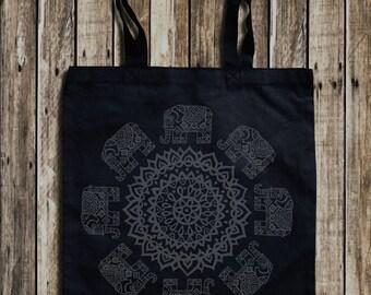 Mandala sac en toile imprimé graphique