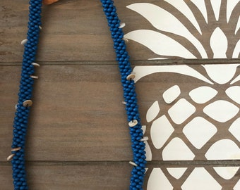 Blue Wooden & Shell Beaded Kumihimo Necklace