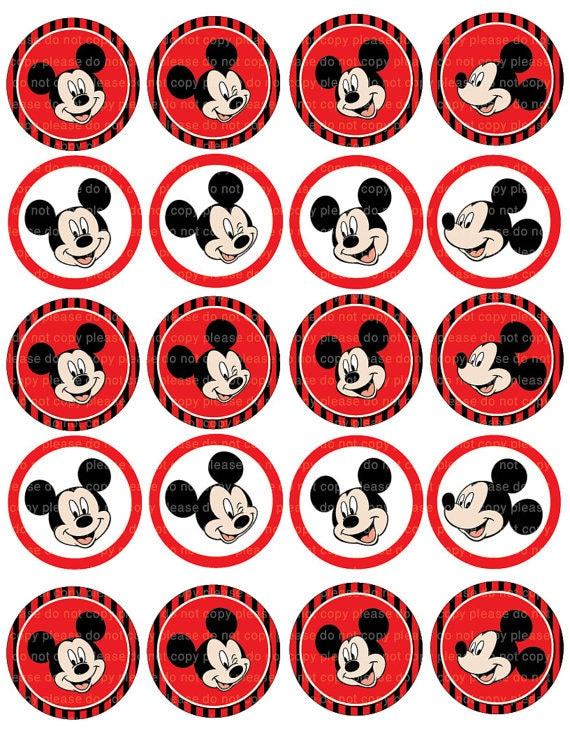 INSTANT DL Mickey Mouse Stickers Cupcake Toppers 2 InchMickey Mouse Cupcake Toppers