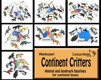 Continent Critters - Match the animals to their geographic location - Montessori geography curriculum map materials - Continent box