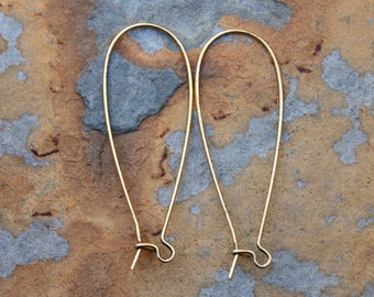 Antique Gold Large Kidney Earwires, 44.45mm x 15.87mm Pick Your Own Bulk Price