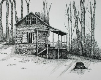 Log cabin print, country, cabin, landscape, mountain cabin, pen and ink,  old cabin