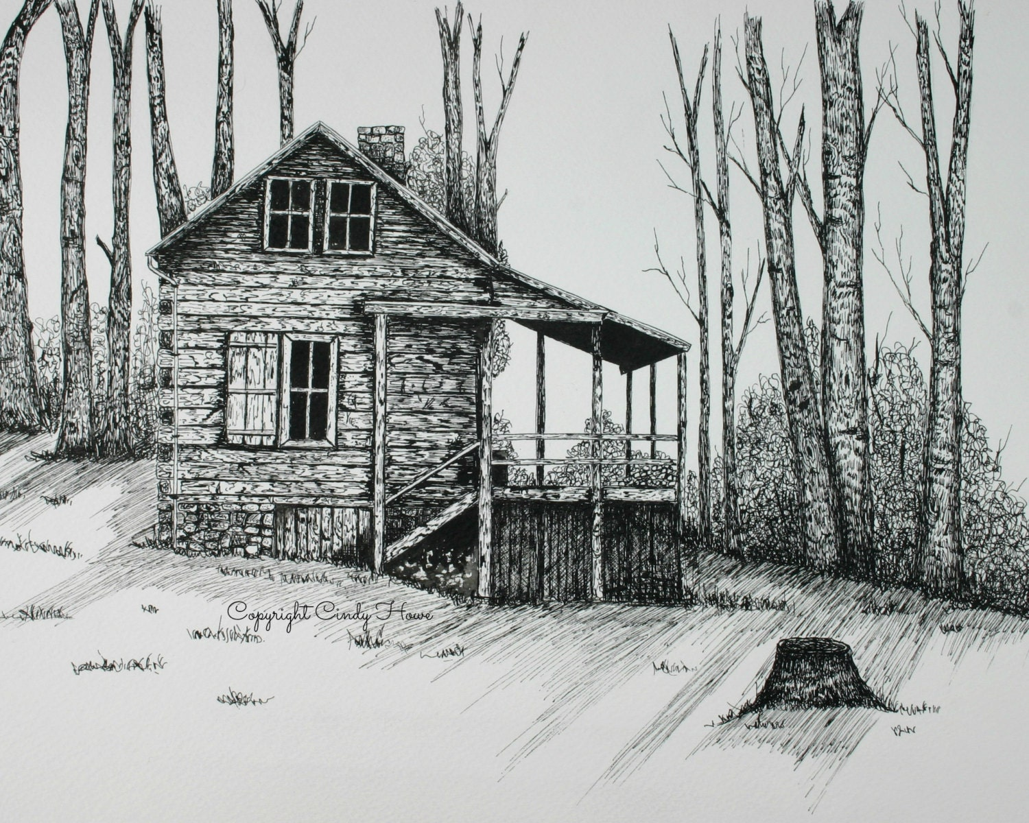 how to draw log cabin house