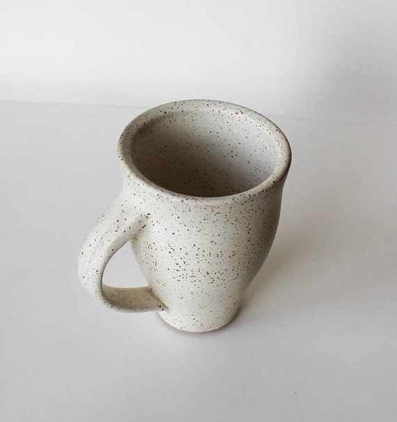 ceramic mug, speckled white mug, coffee mug, coffee cup, tea cup, handmade ceramic mug, rustic mug