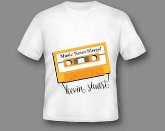 Music Shirt, Music Lovers Clothing, Music Never Sleeps, Personalized Shirt, Customized Shirt, Cassette shirt ;510002