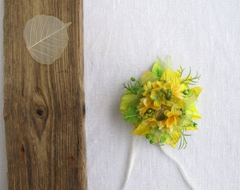 Gift topper, gift bow, Gift wrap -  All ocassion - Spring - Summer- Autumn - Green&Yellow