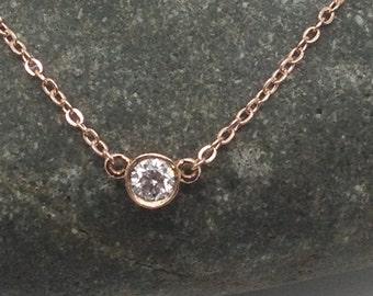 Diamond Necklace,Rose gold pendant necklace, Mother's day sale,Dainty diamond necklace,pendent, gold pendant, rose gold pendant,hollowee