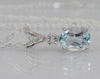 Aquamarine Gemstone Necklace, 7x5m Aquamarine Accent Pendant, Sterling Silver, Wedding Jewelry, March Birthstone, Aquamarine Jewelry