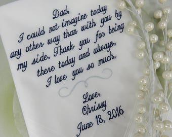 Wedding Handkerchief For Dad, Dad Handkerchief, Father of the Bride Wedding Gift, Gift for Dad, Wedding Hankerchief, Wedding, Hanky, Hankies