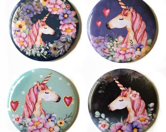 Unicorn Fridge Magnets Set #1 x 4 55mm Floral Magical Unicorns Round Magnet Gift
