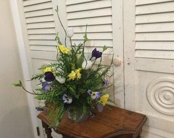spring,floral,centerpiece,artificial,purple,yellow,