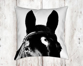 Horse Decorative Pillow - Throw Pillows - Equine Decor - Horse Decor - Gifts - Farmhouse Decor - Black & White Pillow - Horses