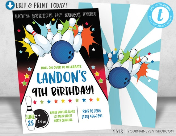 Bowling Birthday Party Invitation, Bowling Party Invitiation, Bowling Invite, Boy Birthday Invitation