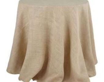 "Round Burlap Tablecloth - 70"""