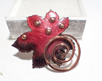 Matisse Mid Century Red and Black Enamel on Copper Maple Leaf Brooch