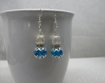 Dangle Earrings in Turquoise and Clear Crystals
