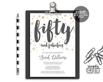 Fifty and Fabulous Birthday Invite 50 Fifty Forty Sixty Glitter Gold Gray White Confetti 20 30 40 50 60 70 80 Adult Birthday Invitation