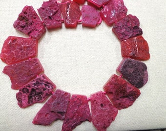 Natural Gemstone Beautiful Ruby Red Agate Strands - 16in long