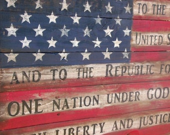 Wooden American Flag Pledge Of Allegiance Rustic Barn Wood