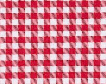 Oilcloth ~ Red & White Medium Check Gingham sold by the yard