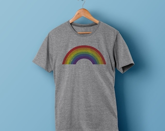 RETRO STRIPES t shirt. 100% organic cotton t-shirt. Hand printed. Khaki beige shirt. Retro colours. Rainbow t-shirt ZnC1C