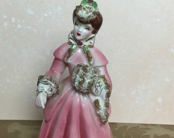 """FREE SHIPPING - 5"""" Lipper and Mann Creations Porcelain Lady Figurine with Pink Coat and Raised Gold Trim  coat with gold trim, Japan,"""