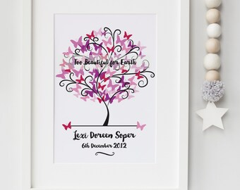 Personalised Baby/Infant Loss Memorial Remembrance Keepsake Butterfly Tree Picture Gift