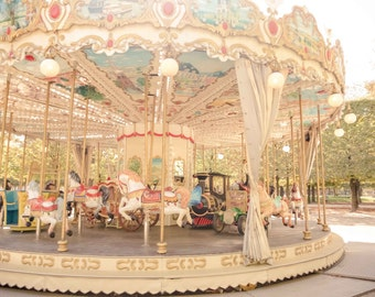 Paris Photography, Autumn Carousel in Paris, Tuileries, Fall in Paris, French Travel Photograph, Wall Decor, Nursery Art