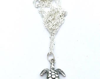 Sea Turtle jewelry, turtle jewelry, sterling silver sea turtle necklace, ocean bridesmaid necklace, beach creature necklace,silver charm
