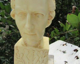 Vintage MOZART BUST Marble Base Santini Sculpture Made in Italy