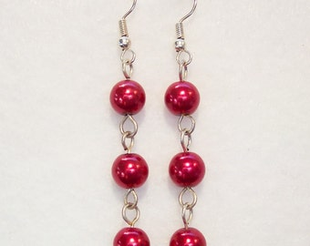 Red Earrings, Red Glass Pearl Earrings, Red Pearl Earrings, Red Bead Drop Earrings, Red Pearl Dangle Earrings, Clip ons Available