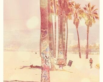 photography, Venice Beach photo, palm trees photograph, ocean seashore, California Sunshine, pink travel summer seaside large wall art 30x30
