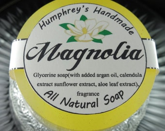 MAGNOLIA soap, Yellow Women's Shave Soap, Round Soap Puck, Glycerin Soap, Jasmine Rose, All Natural, Argan Oil, Rich Lather Floral Spring