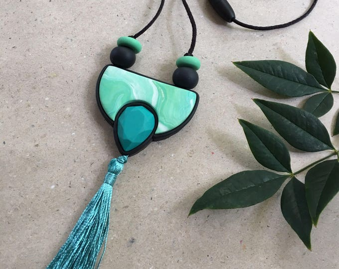 TASSEL TEASE NECKLACE// Geometric polymer clay jewel toned pendant//Green, teal and white marbled statement pendant// #PN4044