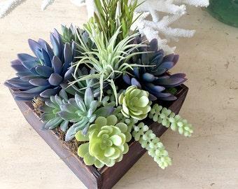 Succulent centerpiece, faux succulent plants, faux succulents, succulent wedding centerpiece, floral arrangement, home living